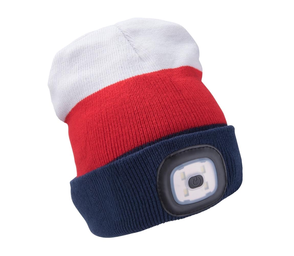 Čepice s čelovkou 4x45lm, nabíjecí, USB, bílá/červená/modrá, uni EXTOL LIGHT 43450