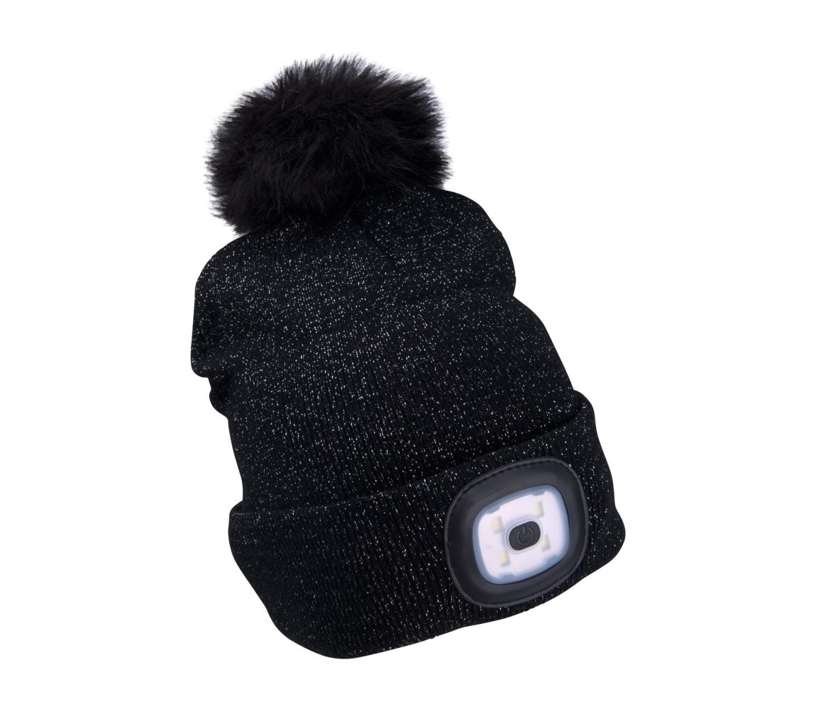 Čepice s čelovkou 4x45lm, nabíjecí, USB, černá uni EXTOL LIGHT 43196