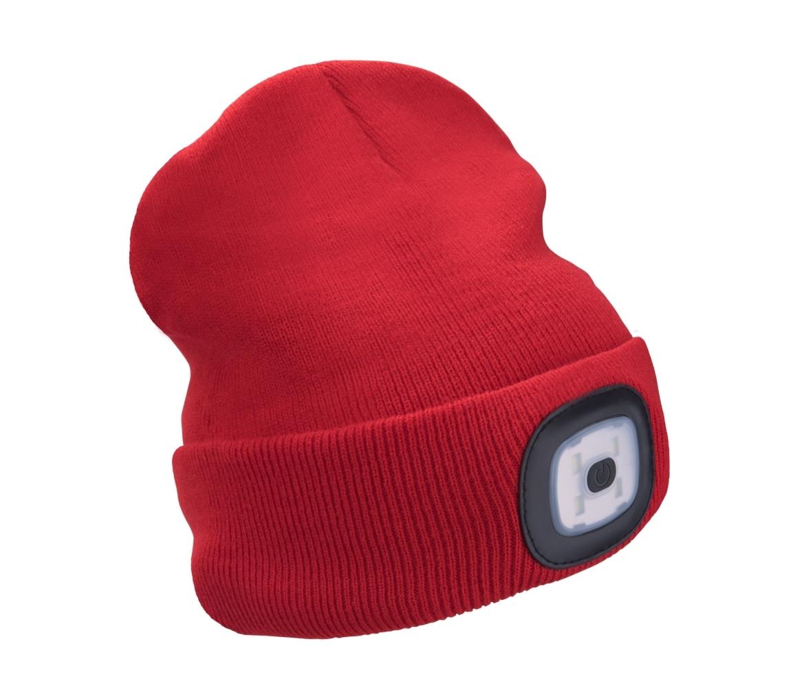 Čepice s čelovkou 4x45lm, nabíjecí, USB, červená, uni EXTOL LIGHT 43198