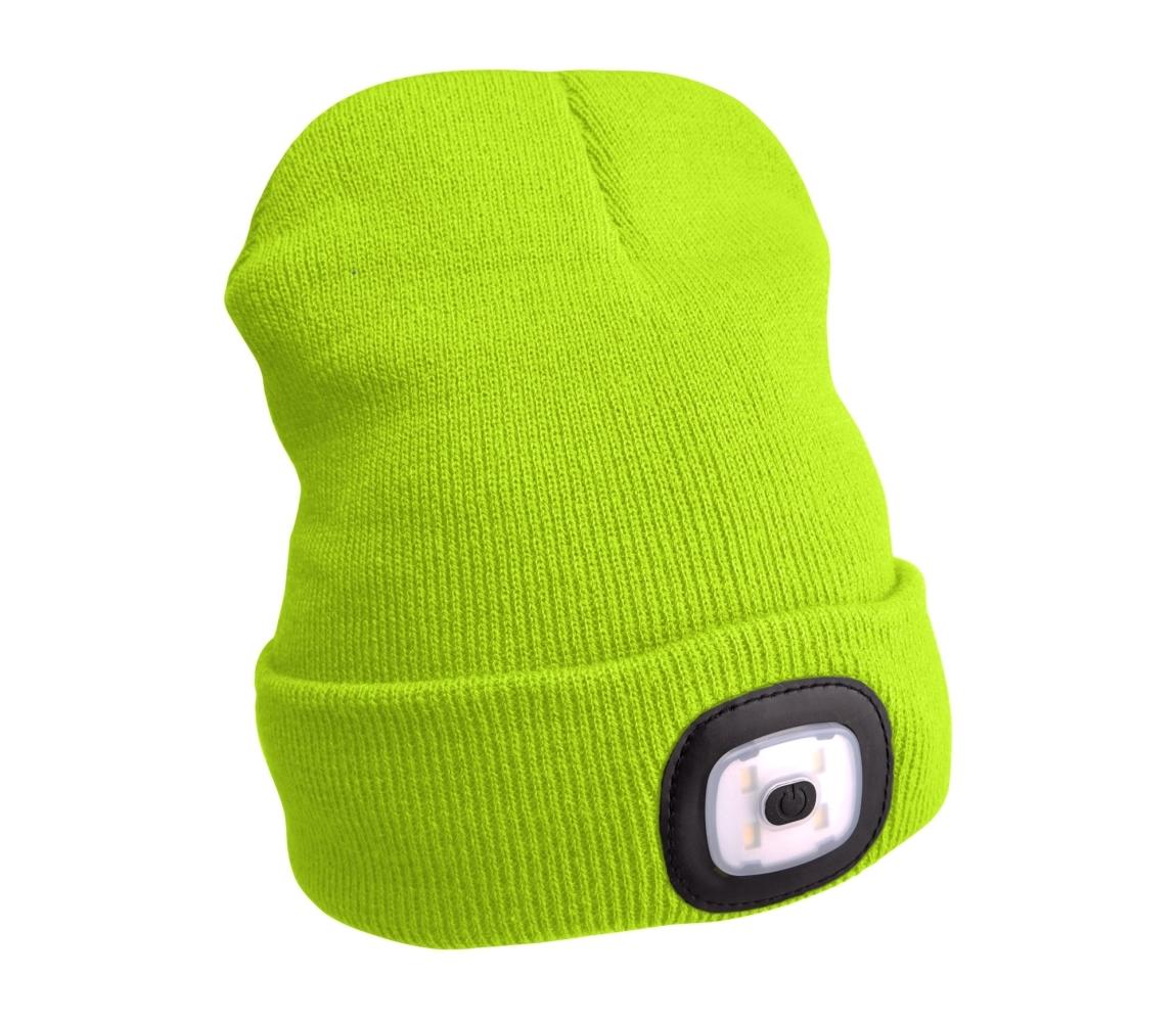 Čepice s čelovkou 4x45lm, nabíjecí, USB, fluorescentní žlutá, uni EXTOL LIGHT 43194