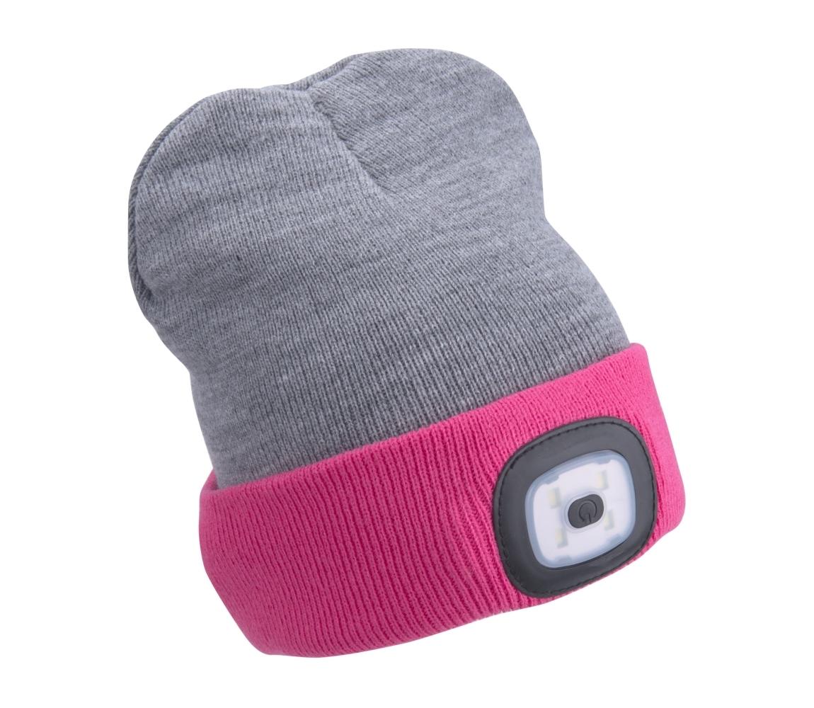 Čepice s čelovkou 4x45lm, nabíjecí, USB, světle šedá/růžová, EXTOL LIGHT 43197