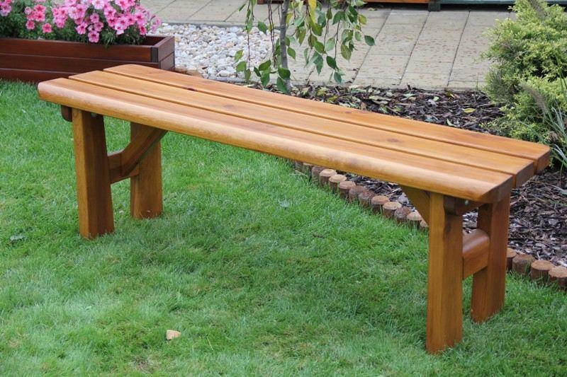 Liška Zahradní dřevěná lavice bez opěrky FINLAND s povrchovou úpravou
