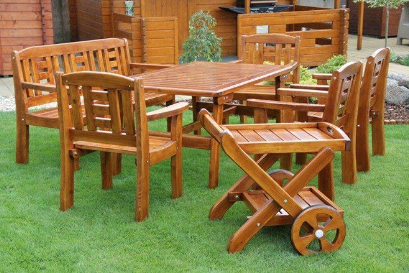 Zahradní dřevěný set GOLD III. s povrchovou úpravou