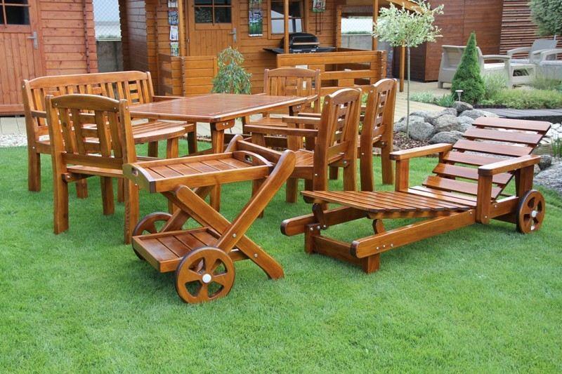Zahradní dřevěný set GOLD V. s povrchovou úpravou