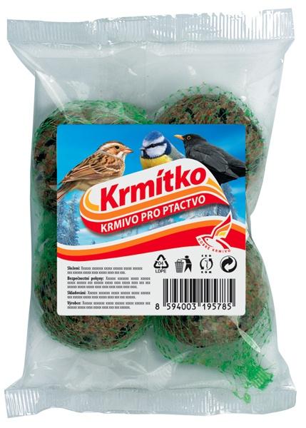 Krmivo pro ptactvo - Lojová koule - 4 ks (folie + etiketa) 4x90g KRMÍTKO