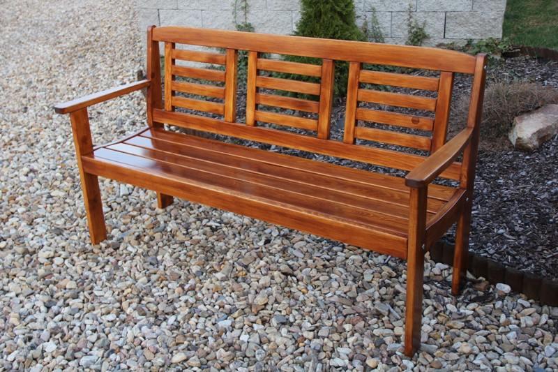 Zahradní dřevěná lavice pro 3 osoby LONUS bez povrchové úpravy