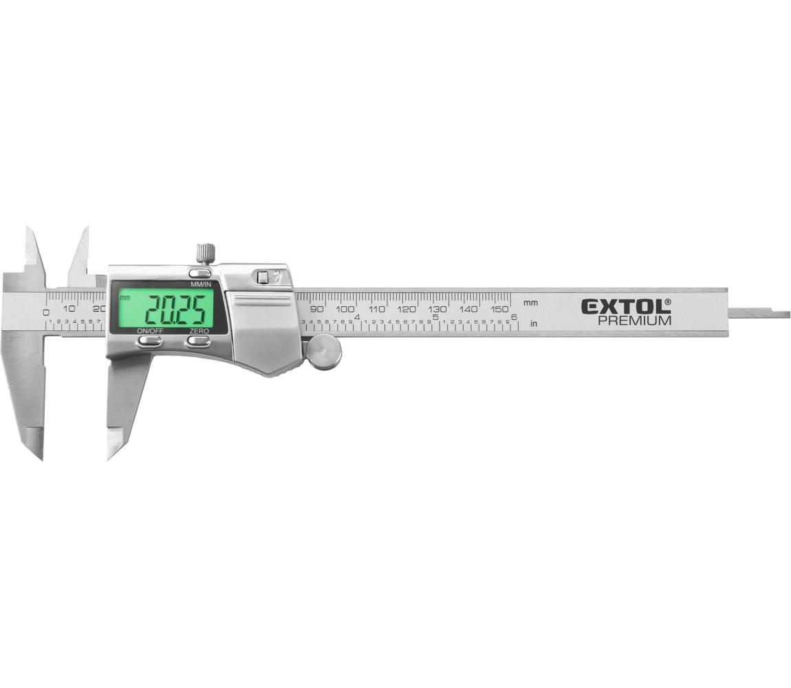 Měřítko posuvné digitální nerez, 0-150mm, podsvícení displeje EXTOL PREMIUM 8825226