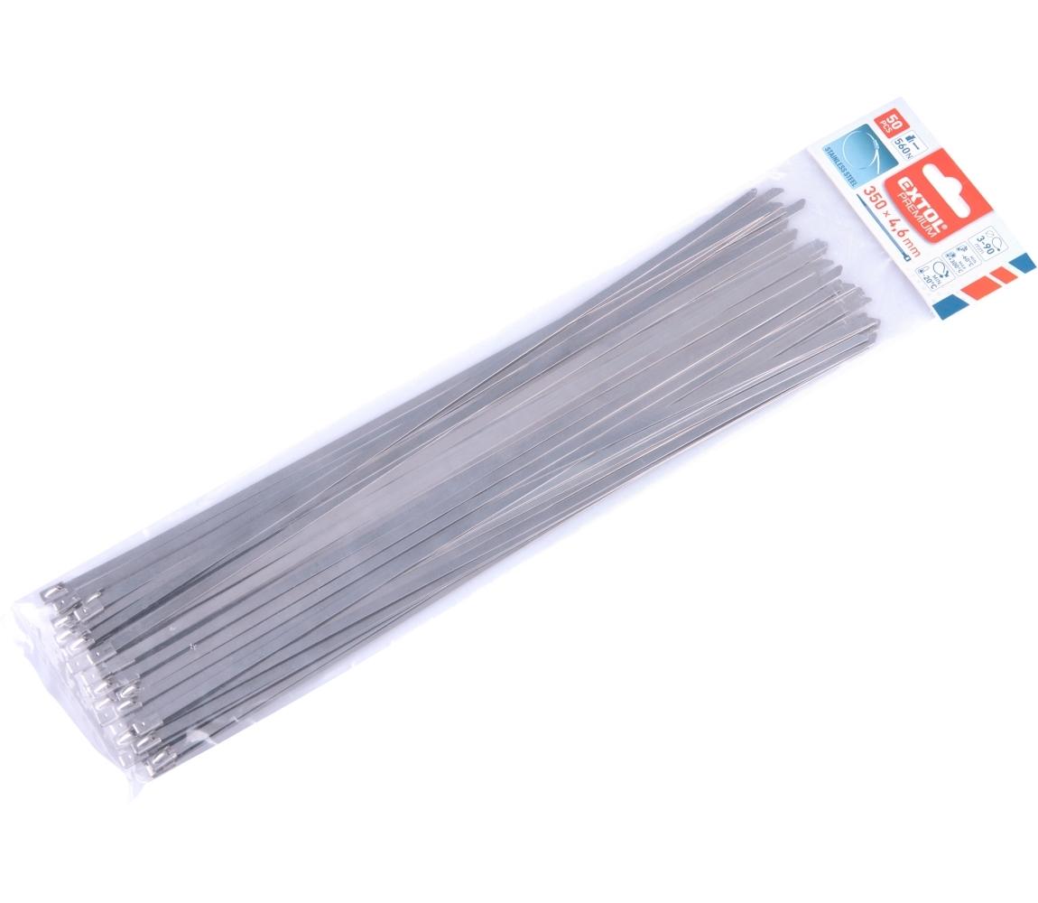 Pásky stahovací NEREZ, 350x4,6mm, 50ks EXTOL PREMIUM 8856278
