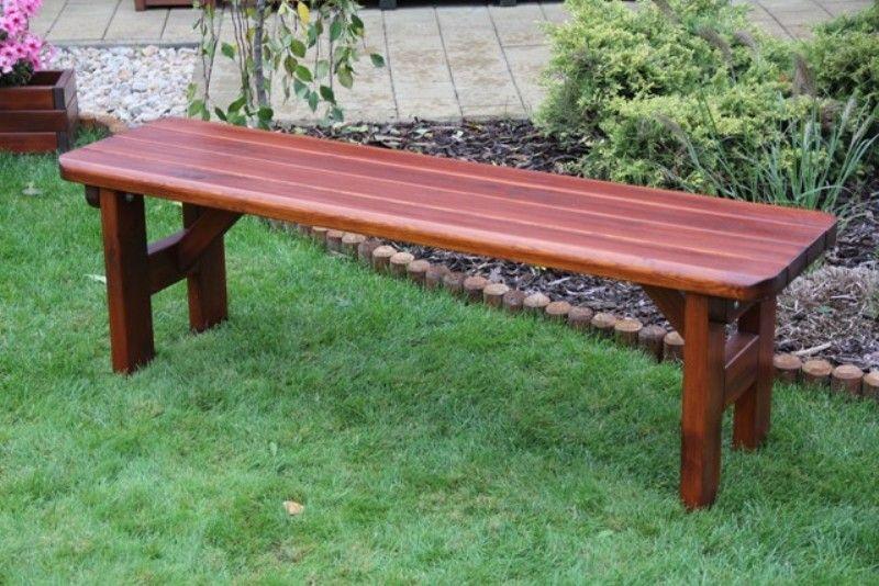 Zahradní dřevěná lavice bez opěrky ROVNÁ bez povrchové úpravy