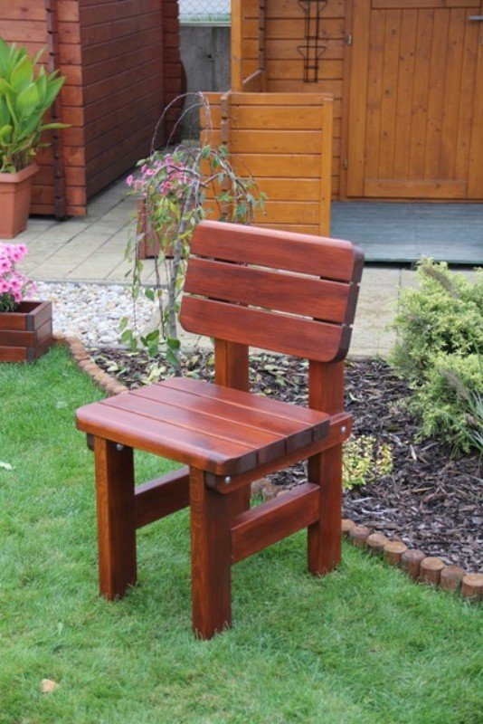 Zahradní dřevěná židle Liška ROVNÁ bez povrchové úpravy