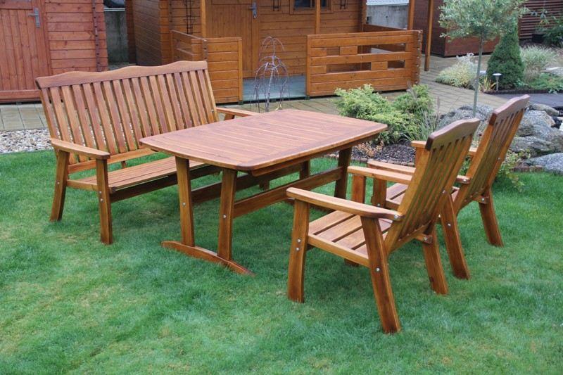 Zahradní dřevěný set RULEN III. s povrchovou úpravou