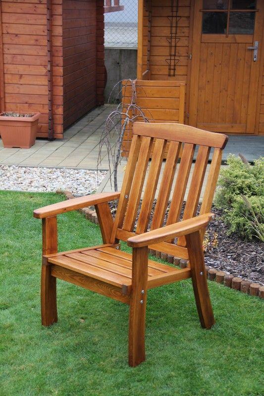 Zahradní dřevěné křeslo pevné RULEN bez povrchové úpravy