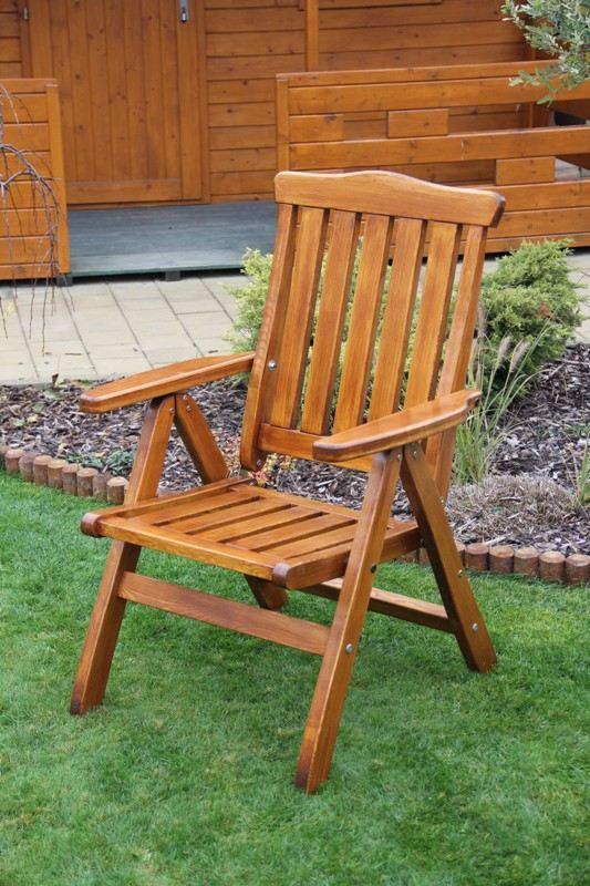 Zahradní dřevěné polohovací křeslo MEVAN bez povrchové úpravy