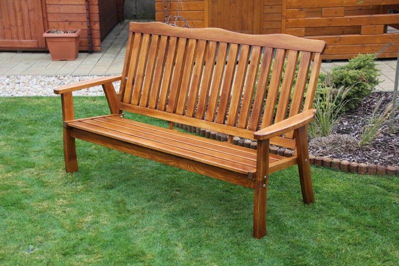 Zahradní dřevěná lavice pro 3 osoby RULEN bez povrchové úpravy