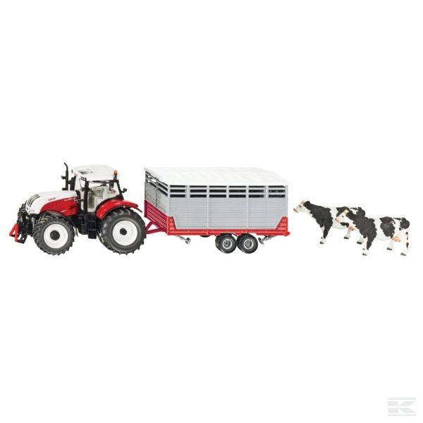 Traktor Steyr s přívěsem pro dobytek SIKU
