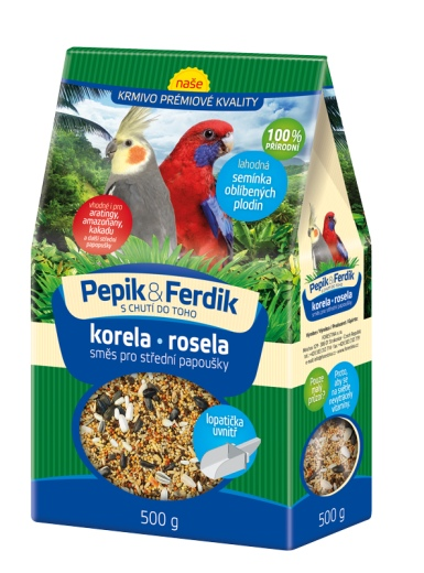 Prémiové krmivo - směs pro středně velké papoušky 500g Pepik&Ferdik Forestina