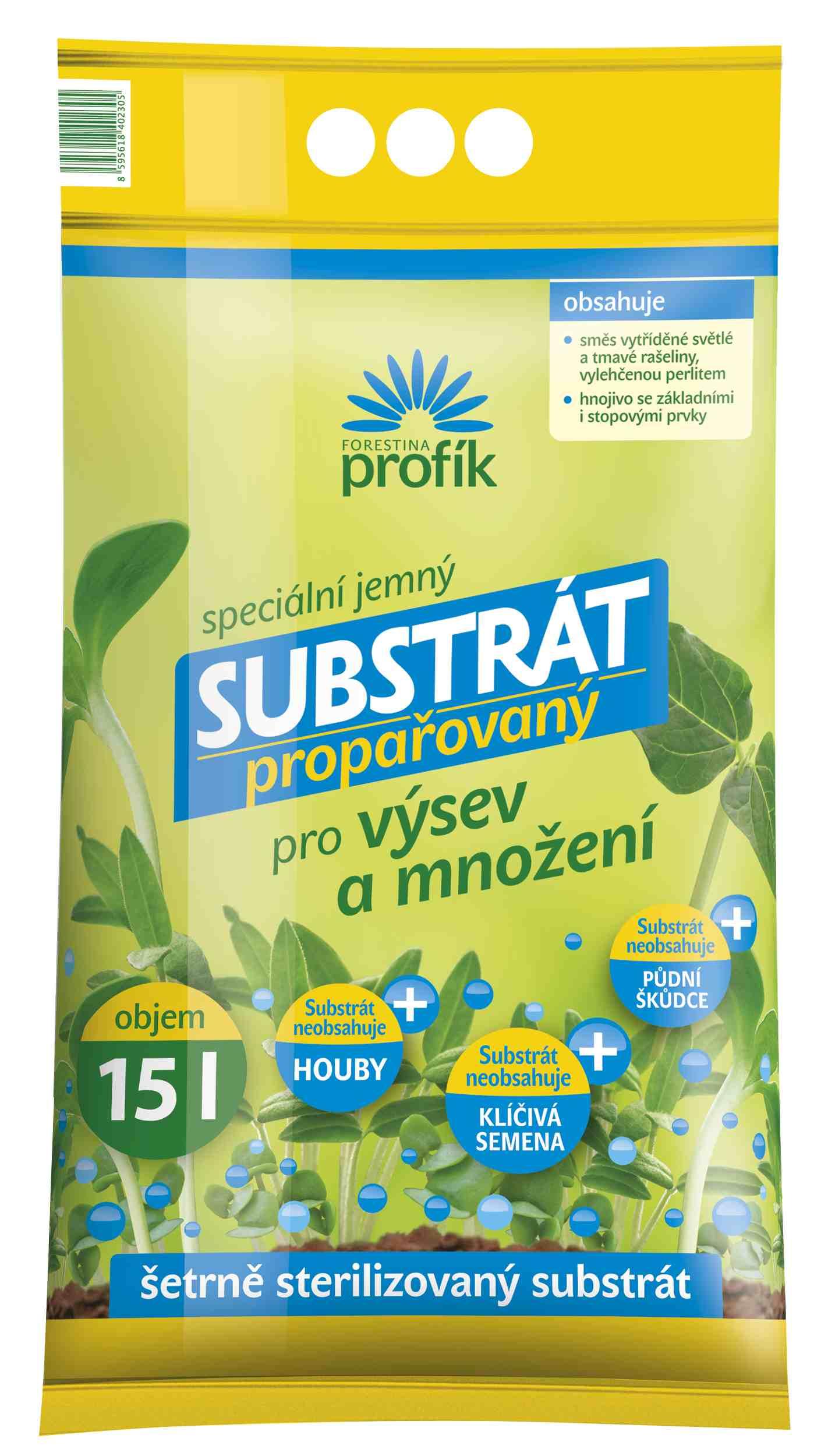 Propařovaný substrát pro výsev a množení 15 l Forestina