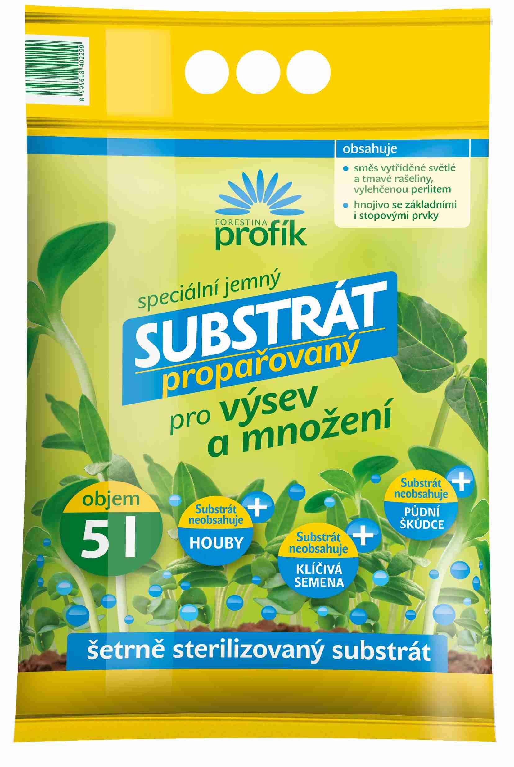 Propařovaný substrát pro výsev a množení 5 l Forestina