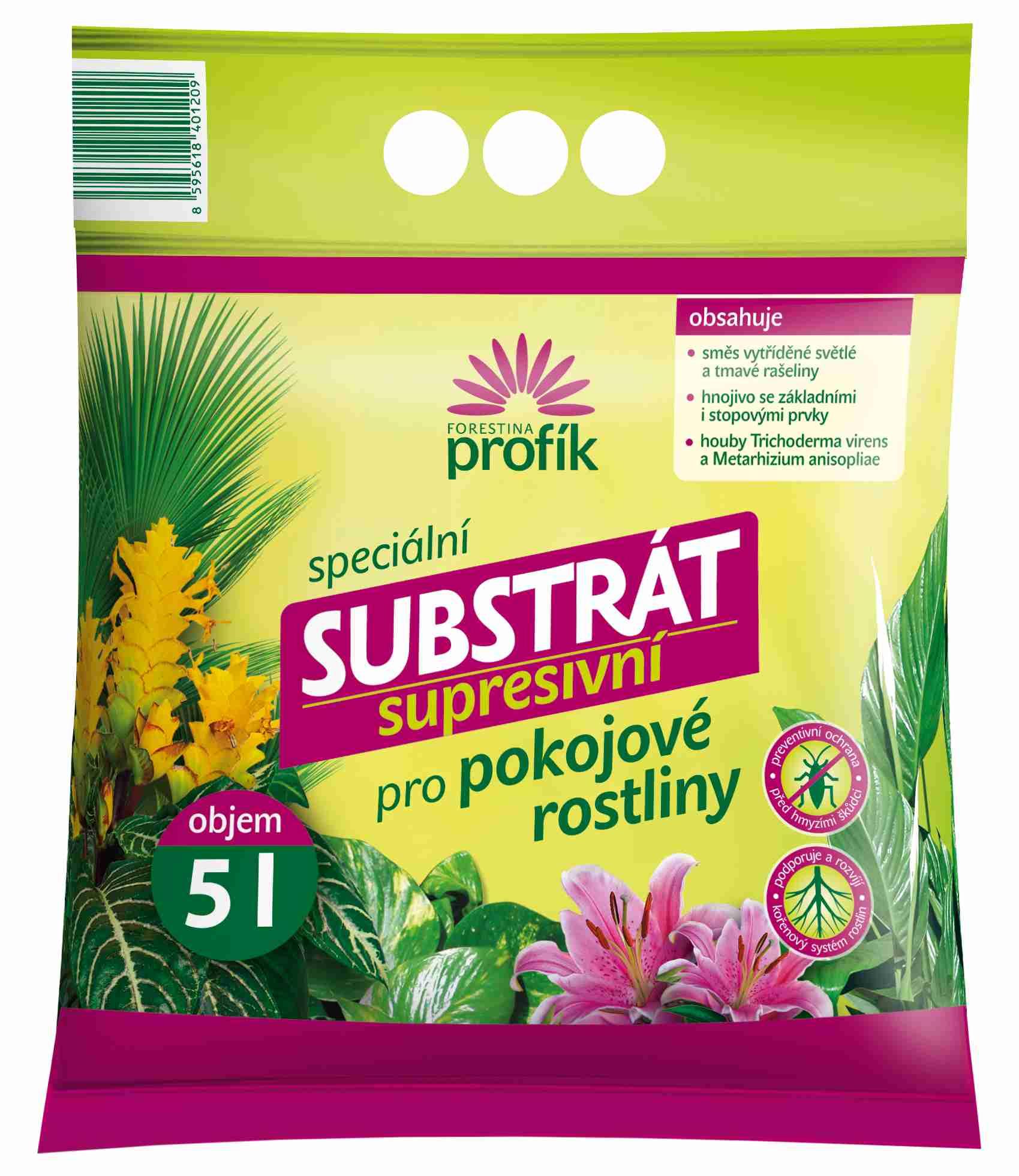 Supresivní substrát pro pokojové rostliny Forestina PROFÍK 15 l